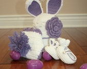 Bunny Baby Crochet Set with Beanie Booties and Diaper Cover- Newborn to 12 Month Sizes