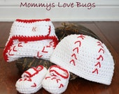 Baseball Play Ball Crochet Beanie, Booties, and Diaper Cover Set - Newborn through 12 month Sizes Available