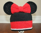 Minnie Mouse inspired Crochet Hat with Ears and removable Bow Hair Clip - Newborn through 4T Sizes