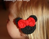 Minnie Mouse Inspired Crochet Hair Clip with Large Bow - Red or Hot Pink Available