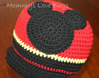 Mickey Mouse inspired Crochet Brim Hat - 5 Year to Adult Sizes