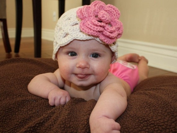 2 in 1 Beautiful Hand Crochet Beanie with Large Removable Clip Flower - Choose your own colors and Size - Newborn through 4T