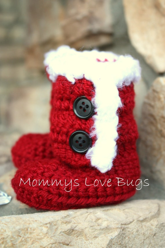 Items similar to Santa Baby Boots in Red with White Fuzzy ...