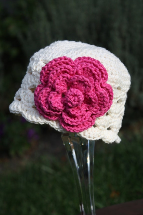 Crochet Scallop Beanie with Large Removable Clip Flower - Choose your own colors and Size - Newborn through 4T Available