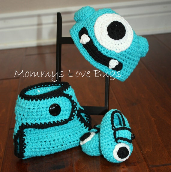 Monster Baby Crochet Beanie Booties and Diaper Cover - Newborn through 12 Month Sizes