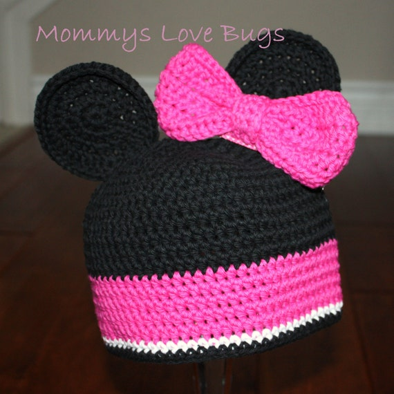 Minnie Mouse Inspired Crochet Hat With Ears And Removable Bow