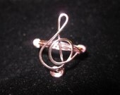 Pink Treble Clef Ring Wire Wrapped Ring Music Note Ring Cute Gift For Her