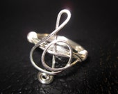 Treble Clef Ring Silver Plated Wire Wrapped Music Note Gifts Under 20