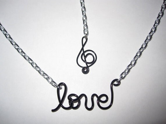 Love for Music Chain Necklace Music Note Charm Black Treble Clef Note