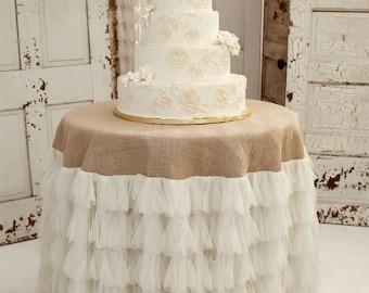 Ivory Petals and Burlap Tablecloth - Vintage Weddings