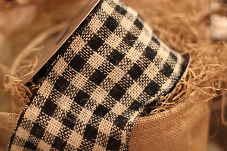 Burlap Black And Cream Check Wired Ribbon
