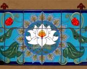 Hand Glazed Tile Lotus Blossom Mandala Mural