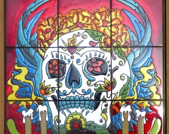 Day of the Dead Hand Glazed Tile