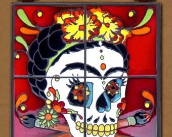 Day of the Dead Frida Hand Glazed Tile Mural