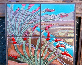 12x12 Ocotillo Cactus Hand Glazed Decorative Tile Mural