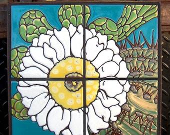 12x12 Saguaro Bloom Hand Glazed Decorative Tile Mural