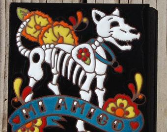 """Day of the Dead Dog 6""""x6"""" Hand Glazed Tile Trivet"""