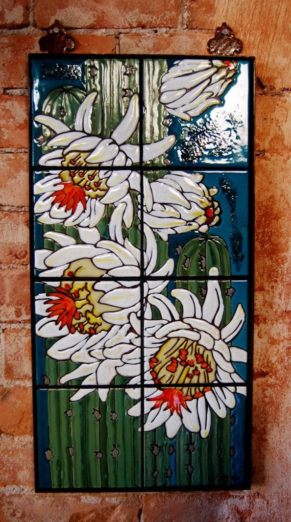 Night Blooming Cactus Hand Glazed Tile Mural