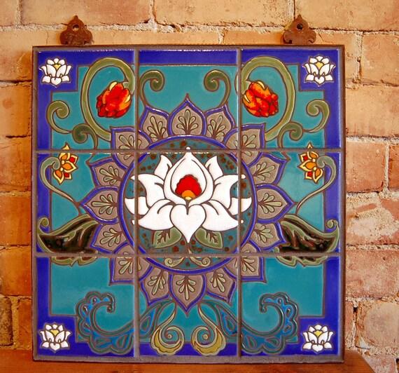 18x18 Lotus Mandala Hand Glazed Decorative Tile Mural