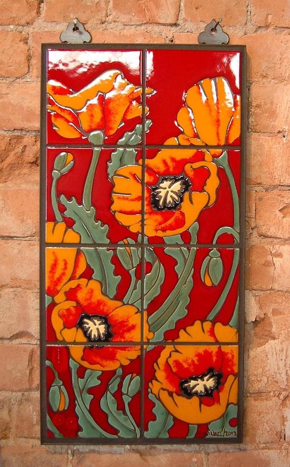 Hand glazed orange and red ceramic tile poppy mural for Clay tile mural