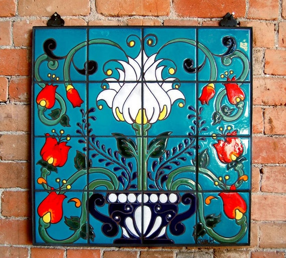 Mexican Talavera Style Floral Hand Glazed Ceramic Tile Mural