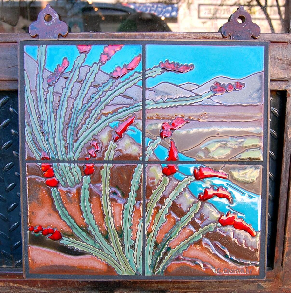 12x12 ocotillo cactus hand glazed decorative tile mural for Decorative tile mural