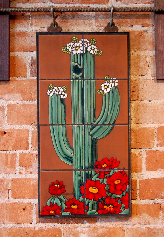 12x24 Hand Glazed Saguaro Cactus Ceramic Tile