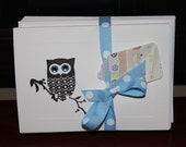 Baby Boy Owl Thank You Baby Shower Notecards with blue gems
