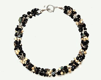 Necklace - Paua Shell, Onyx, Mother of Pearl, Toggle clasp