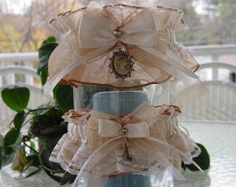 Antique Gold and Ivory Cameo Wedding Garter set