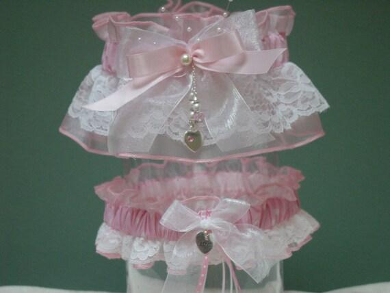 Pink and White Polka Dot  & Lace Wedding Garter Set
