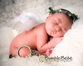 Heaven sent Portrait in a Box  prop collection Newborn Angel wings ..woodland halo.. rustic golden horn