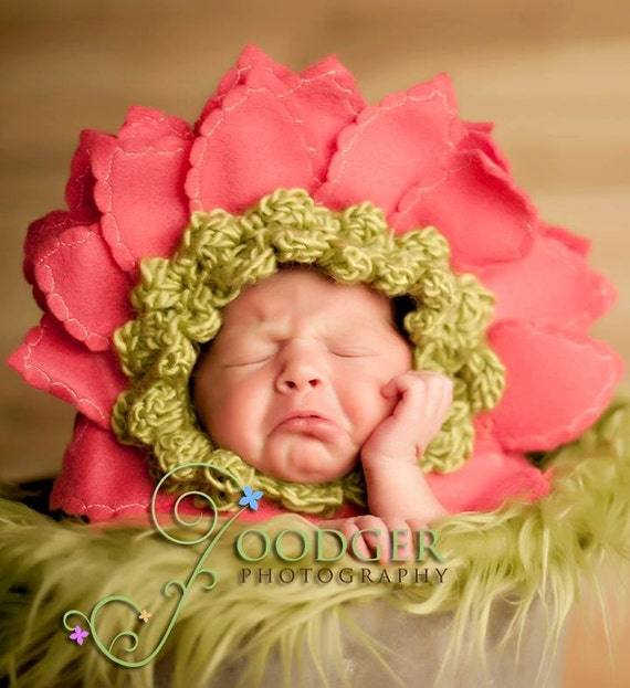 Ready to Ship... Lime with Dark Pink Petals Gerber Daisy Bonnet newborn baby  prop  flower hat .. Wonderful for keepsake portraits & props