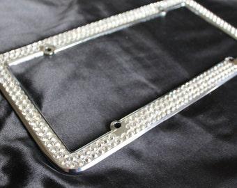 3 Rows Clear Crystal Diamond License Plate Frame & 4 caps made w/ Swarovski Elements