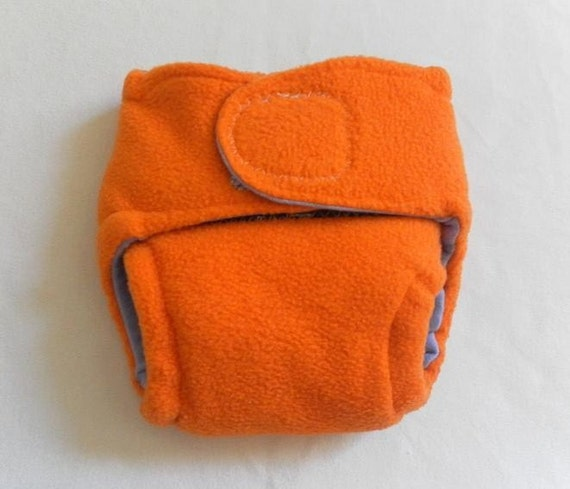 Fleece and Cotton Knit Fitted Diaper Orange and Purple