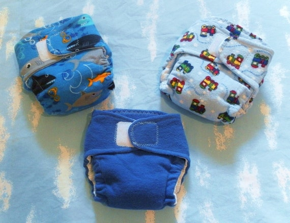 3 Pack Fitted Cloth Diapers - Boy Prints - NEWBORN Size