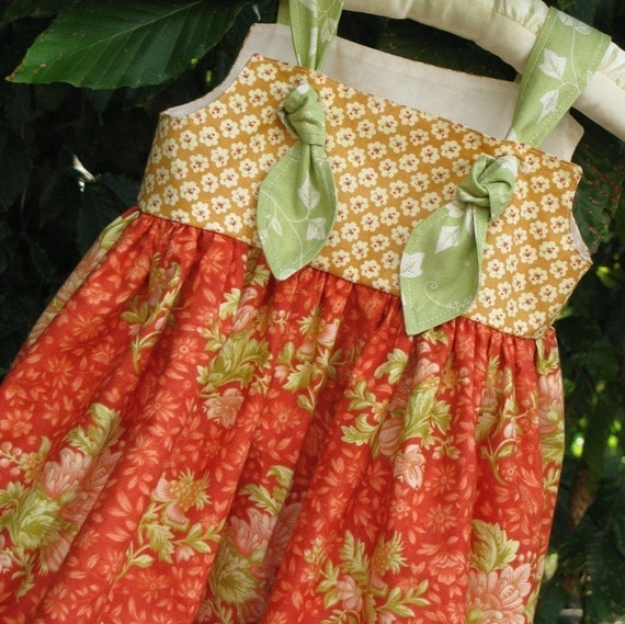 Knot Dress in Shades of Tangerine, Light Brown Sugar, and Moss Green   6-12M, 12-18M, 18-24M, 2T, 3T, 4T, 5