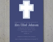 First Communion, Christening / Baptism Invitation and Announcement - Modern Cross