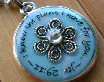 SALE Jeremiah 29 11 I know the plans I have for you declares the Lord... blue and silver pendant with chain