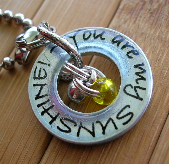 Sunshine... you are my sunshine...13/16 inch silver washer word pendant with chain
