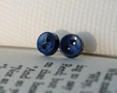 Button Earrings - Navy Blue