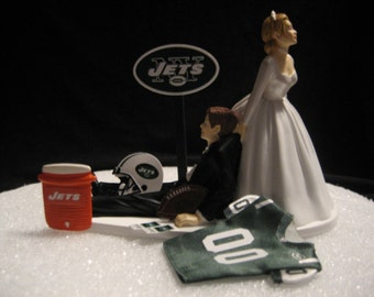 New York Jets Wedding Cake Topper Bride Groom Jersey Helmet