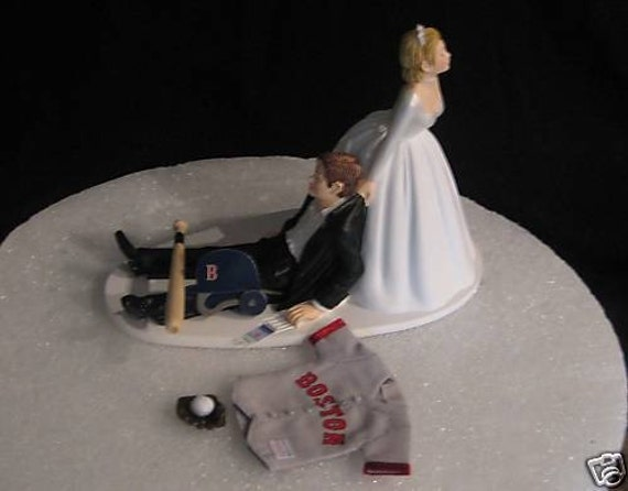 Boston Red Sox BASEBALL Wedding Cake Topper Groom Cake
