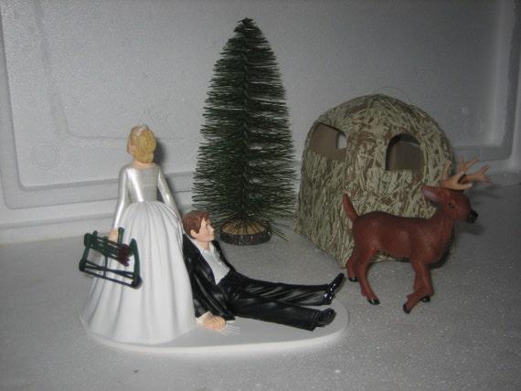 Hunting Wedding Cake Topper Groom Deer Bow Blind Grooms Cake