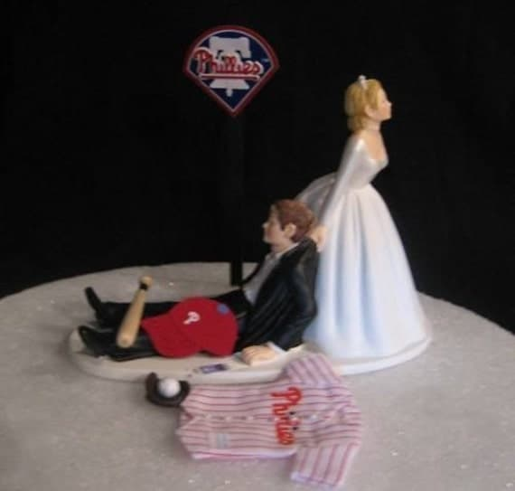 wedding cake toppers baseball theme philadelphia phillies themed baseball wedding cake topper 26390