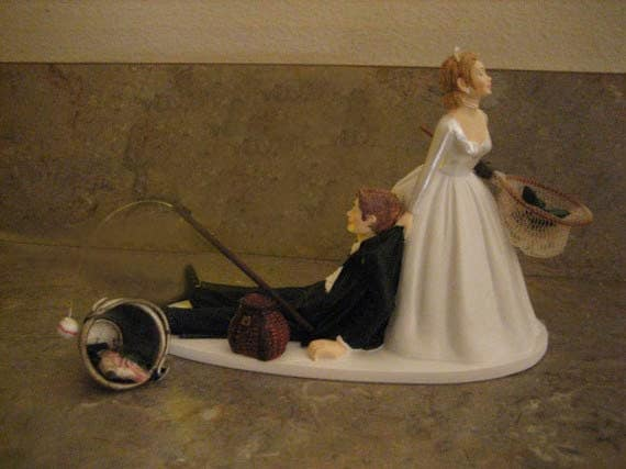 Items Similar To Fishing Themed Wedding Cake Topper For The Groom Groom 3