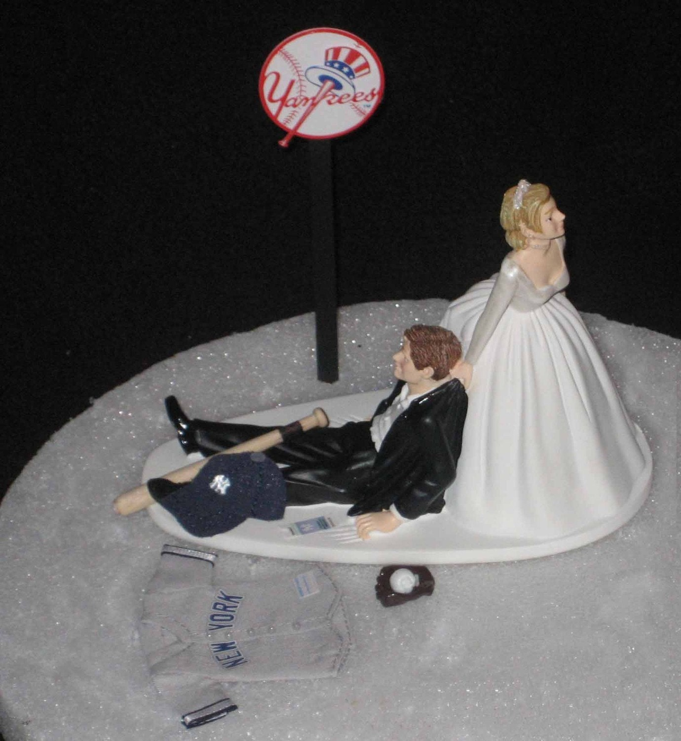 New York Yankee Wedding Cake Toppers Yankees Baseball Topper Bride Groom