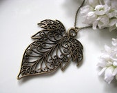 Antique Brass Filigree Leaf Pendant With Chain