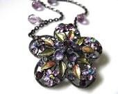Secret Garden Necklace - Vintage Green, Lavender Enamel Floral and Purple Rhinestones Necklace, Bridal Jewelry Wedding