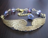 Touch By An Angel - Antiqued Brass Wing with Pink and Teal Czech Fire Polished Glass Rounds Bracelet